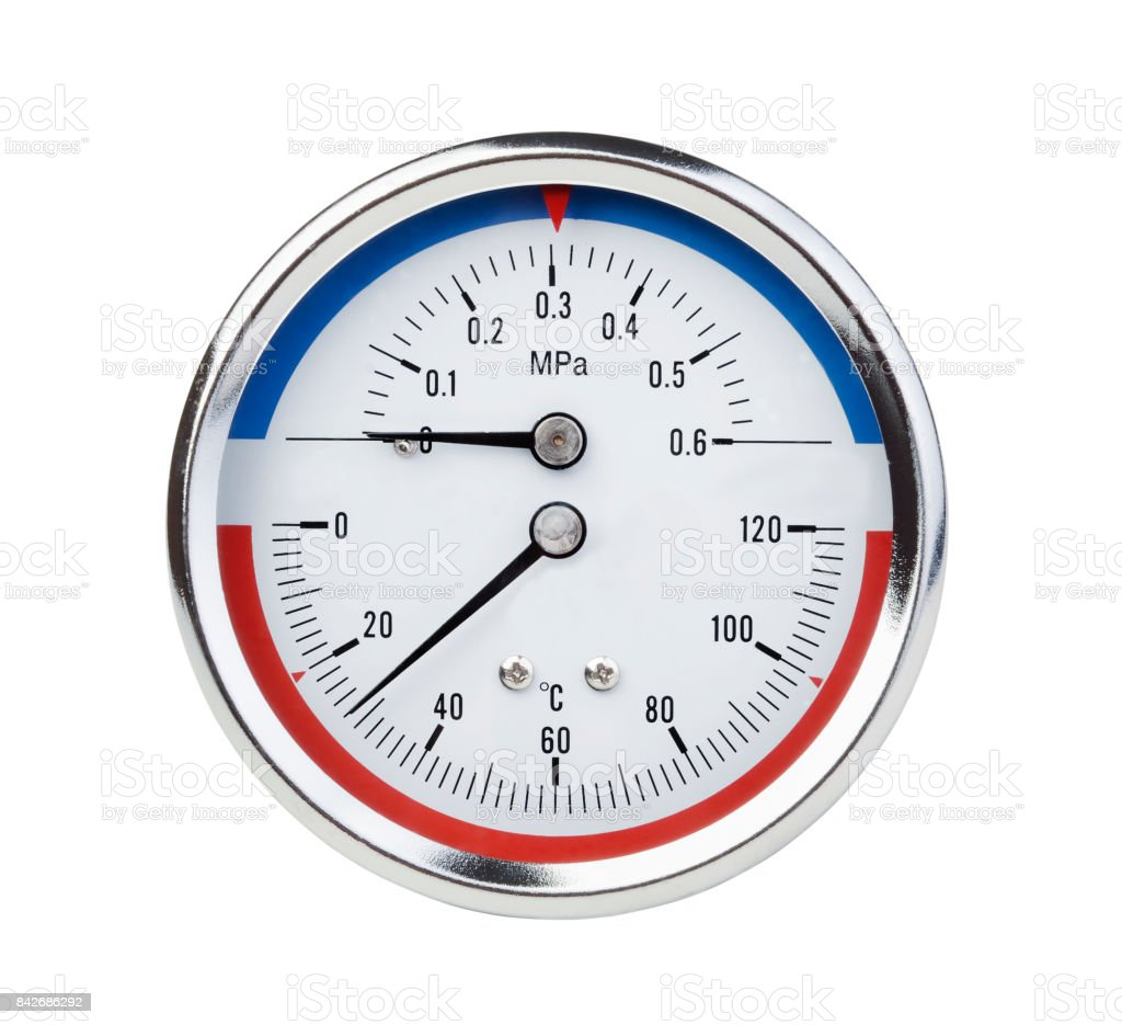Thermomanometer isolated on white stock photo