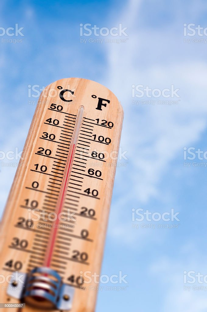 thermometer and sky stock photo