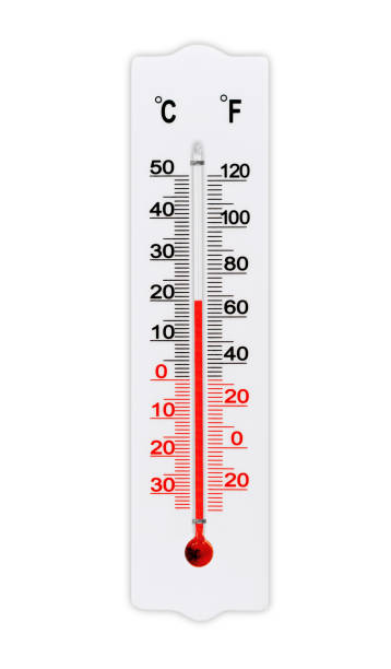 Thermometer for measuring air temperature isolated on white background. The thermometer shows plus 20 degrees celsius stock photo