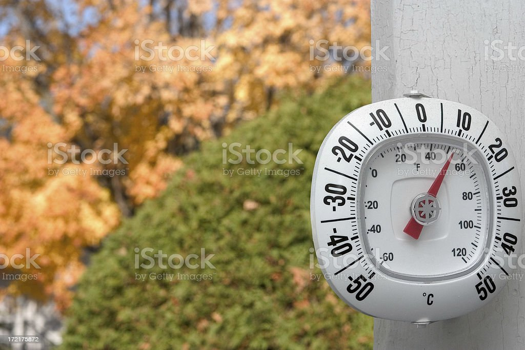 Thermometer in Fall royalty-free stock photo