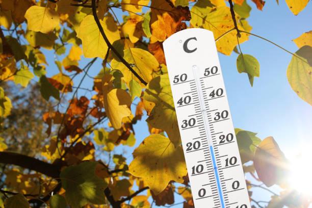 thermometer vor einem herbstlich gefärbten baum - wettervorhersage deutschland stock-fotos und bilder