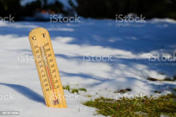 Photo of thermometer in melting snow, spring is coming