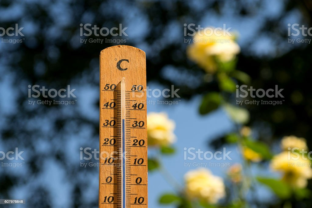 Ein Thermometer im Sommer stock photo