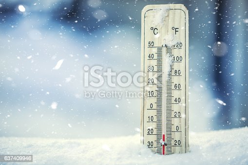 istock Thermometer on snow shows low temperatures under zero. 637409946