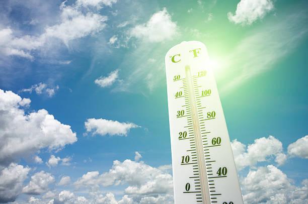 thermometer on the summer heat - 熱度 溫度 個照片及圖片檔