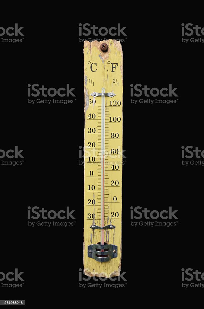 Thermometer show 14 degrees Celsius stock photo