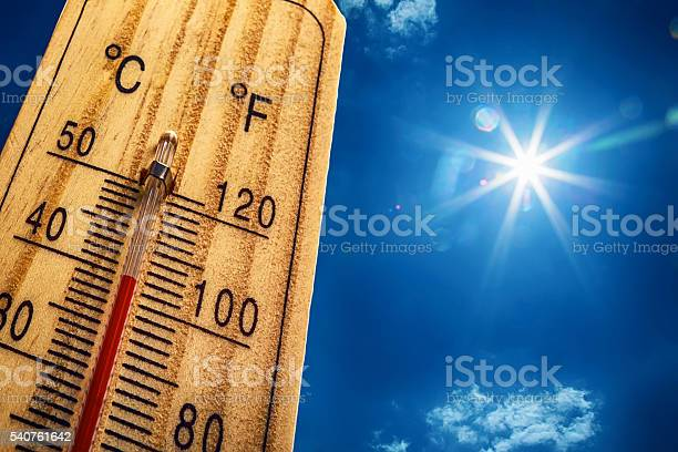 Photo of Thermometer Sun 40 Degres. Hot summer day. High Summer temperatures