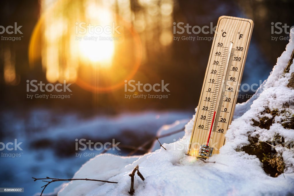 thermometer with low temperature in the snowy woods – Foto