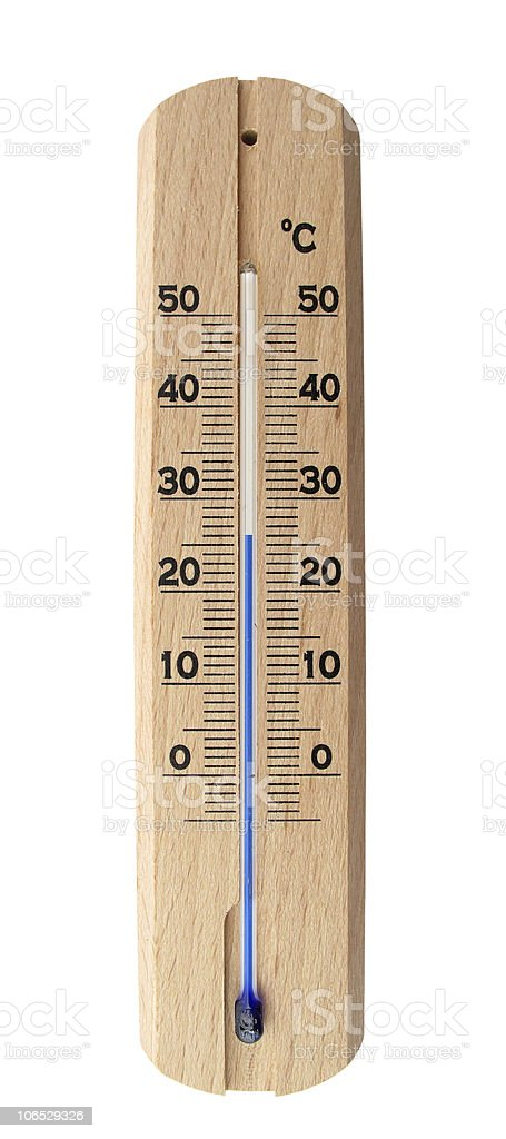 Thermometer wooden isolated on white royalty-free stock photo