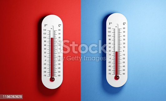 Thermometers with high and low temperatures on red and blue backgrounds. Horizontal composition with copy space. Front view.