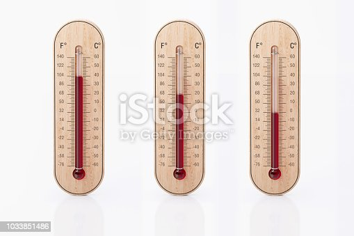 Thermometers With Different Heat Temperatures isolated on white background.  Horizontal composition with copy space. Front view.