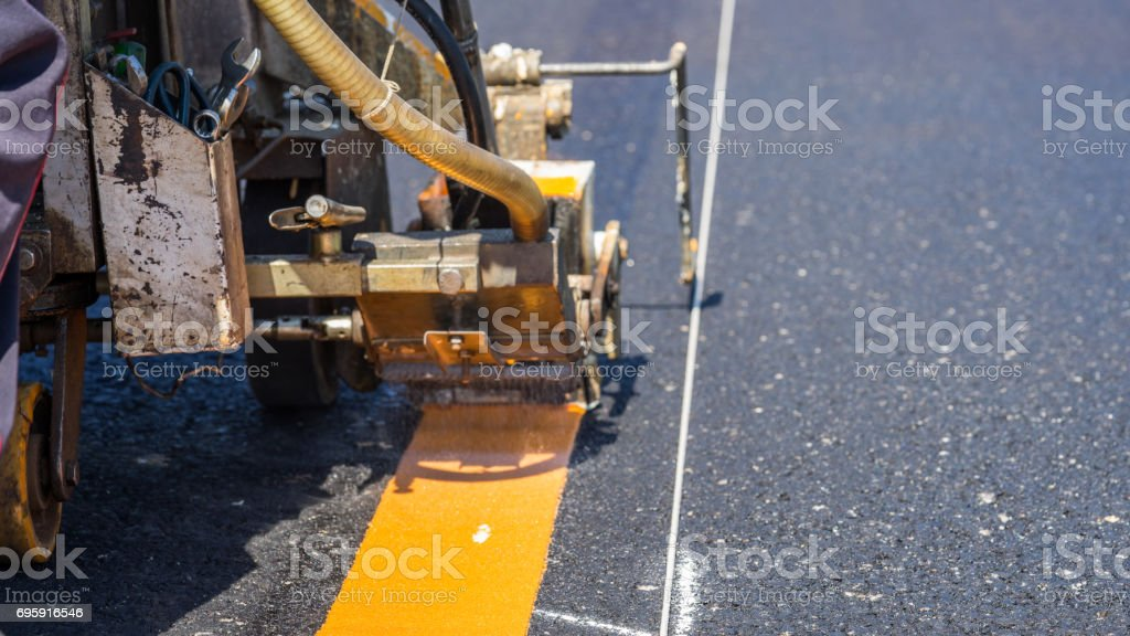 Thermoplastic road marking paint also called hot melt marking paint, is a kind of powder paint stock photo
