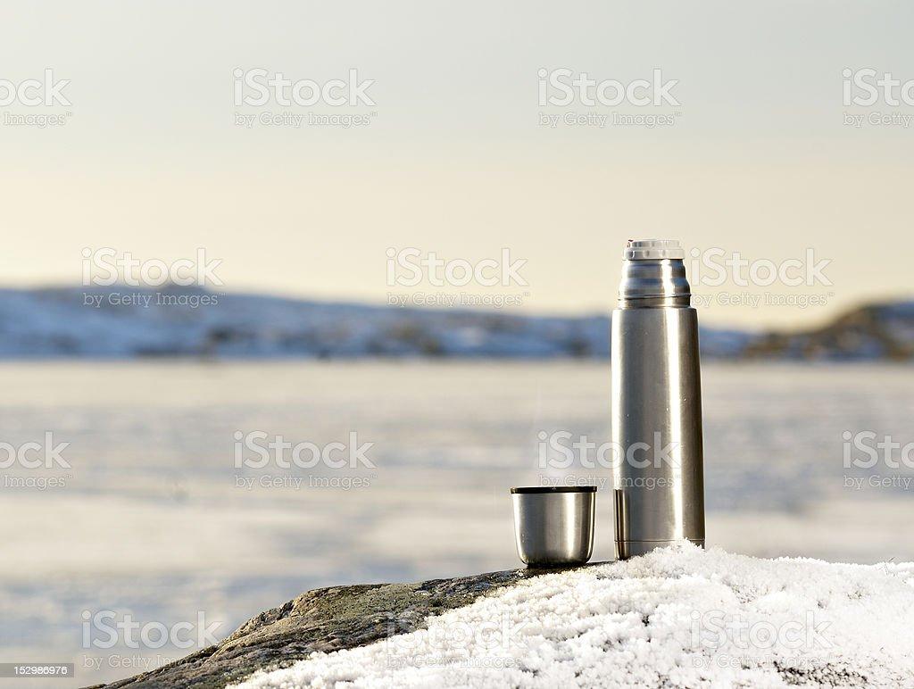 Thermos and mug. stock photo