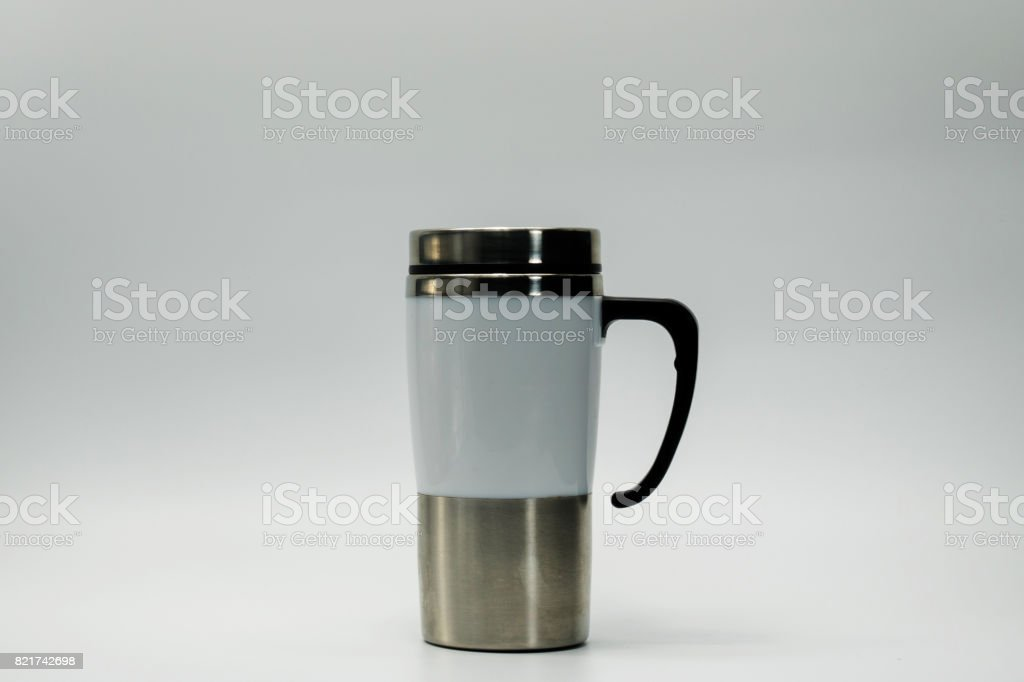 Thermos bottle isolated on white background stock photo