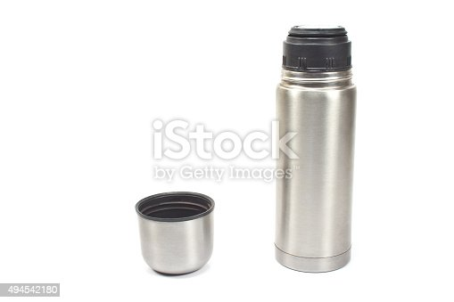 istock Thermos flask isolated on white 494542180