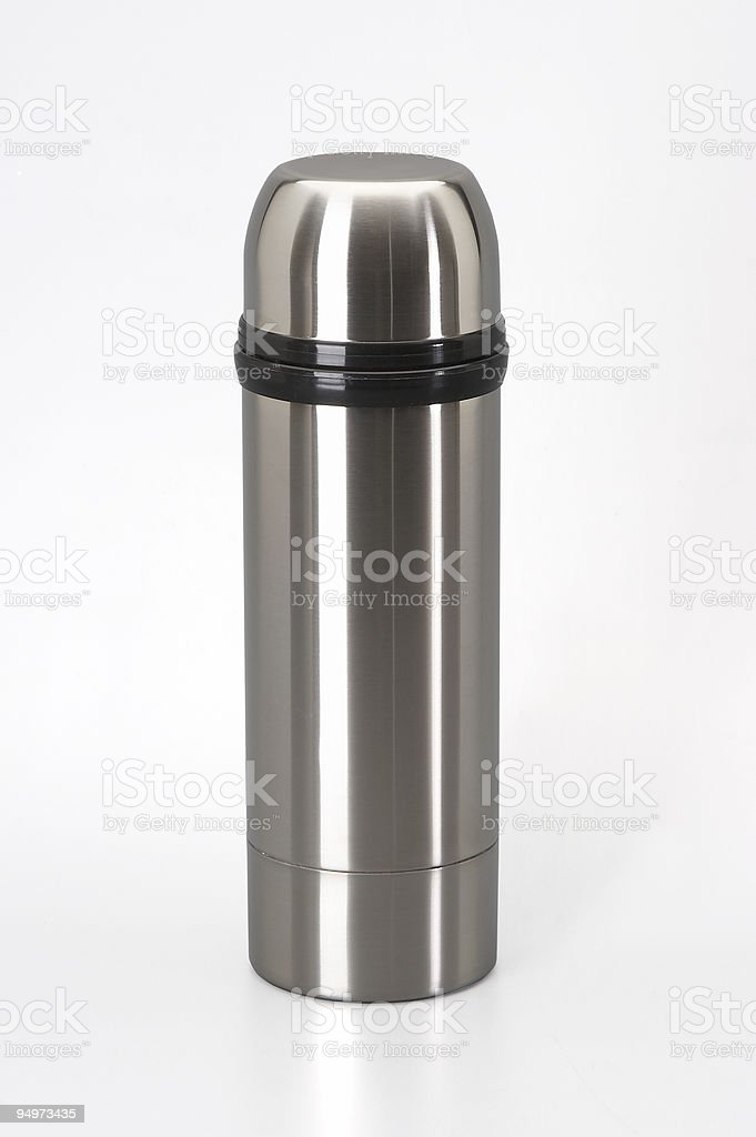 thermos from stainless steel isolated on white royalty-free stock photo