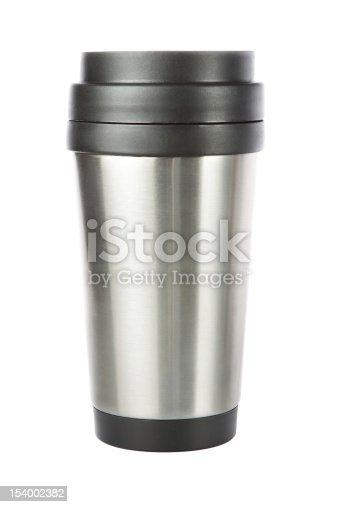 istock Thermos travel tumbler, cup. Closeup. 154002382