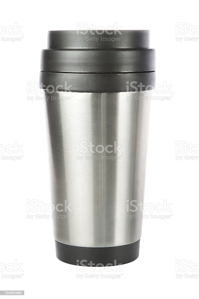 Thermos travel tumbler, cup. Closeup. stock photo