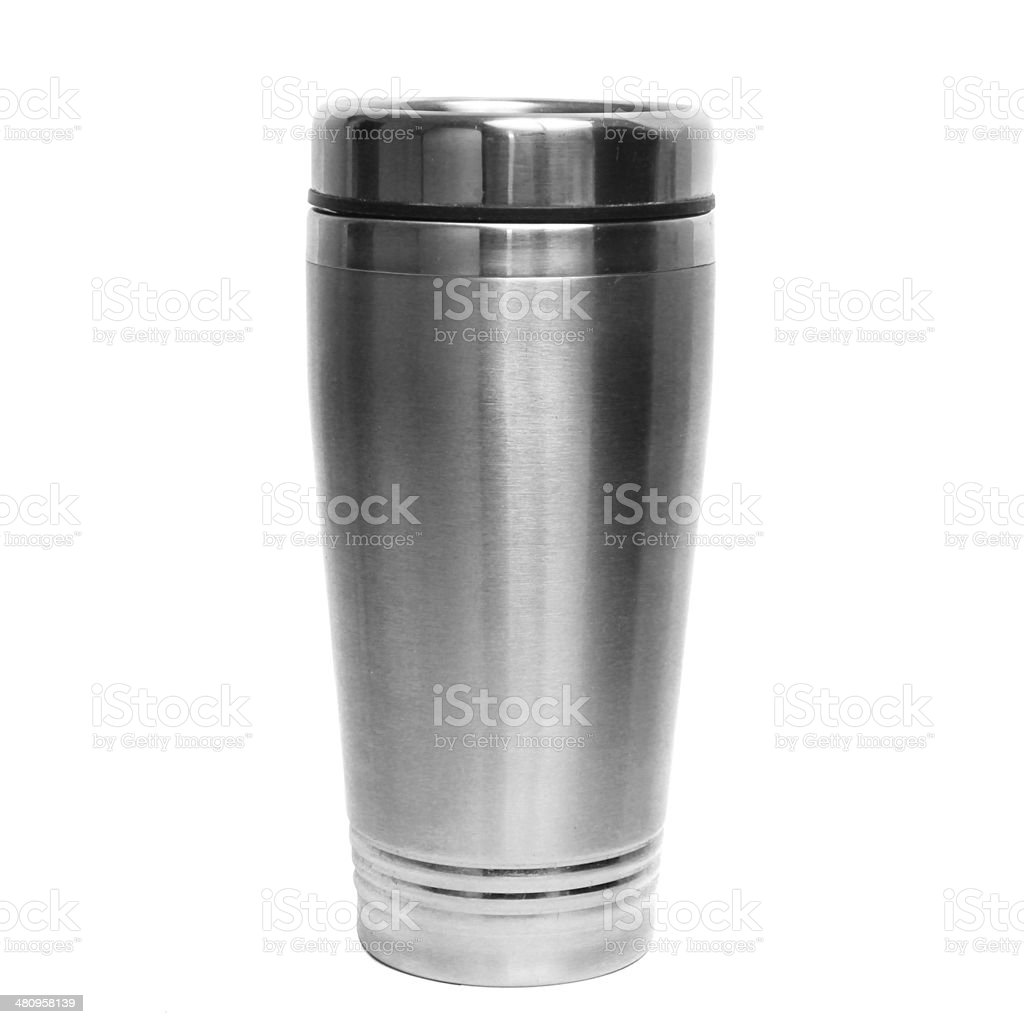 Thermos travel tumbler, cup. Closeup. stock photo