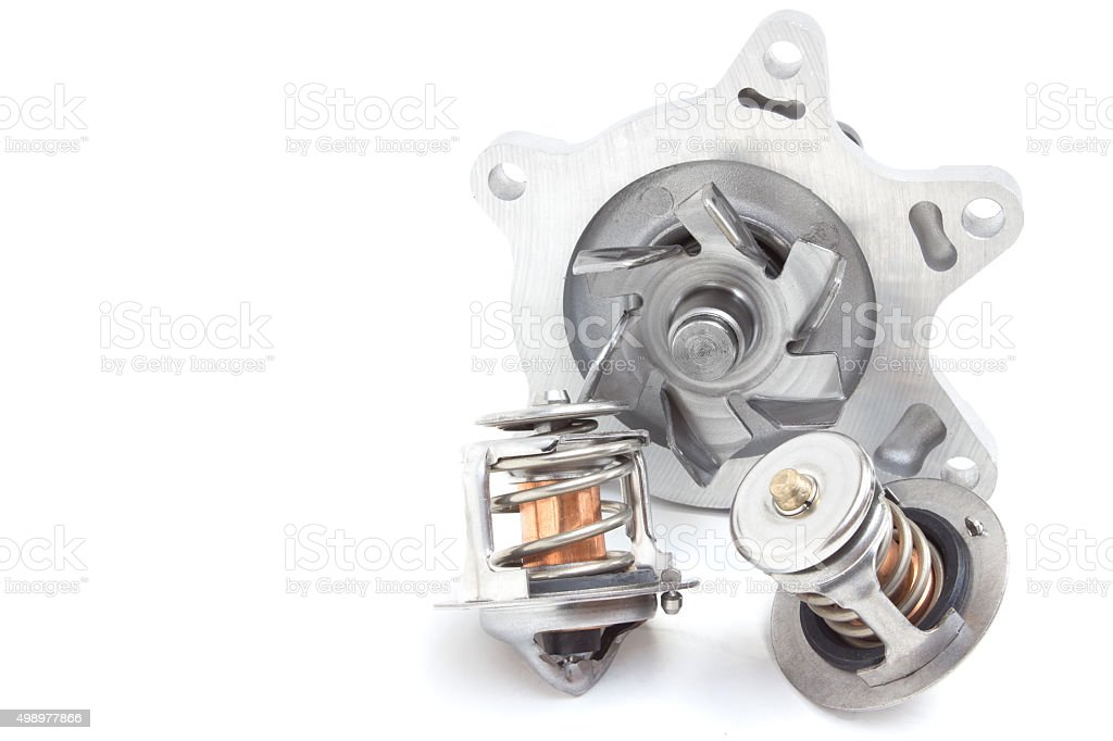 Thermostat engine cooling system of the internal combustion machine stock photo
