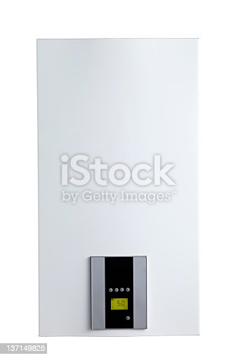 istock Thermostat on plain white wall 137149825