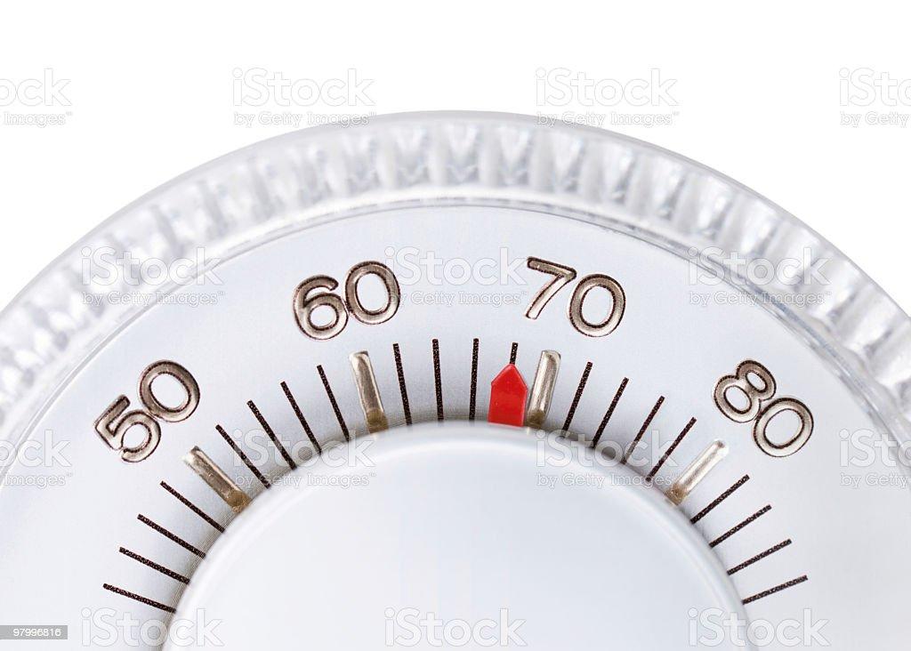 Thermostat set to 68 degrees royalty free stockfoto