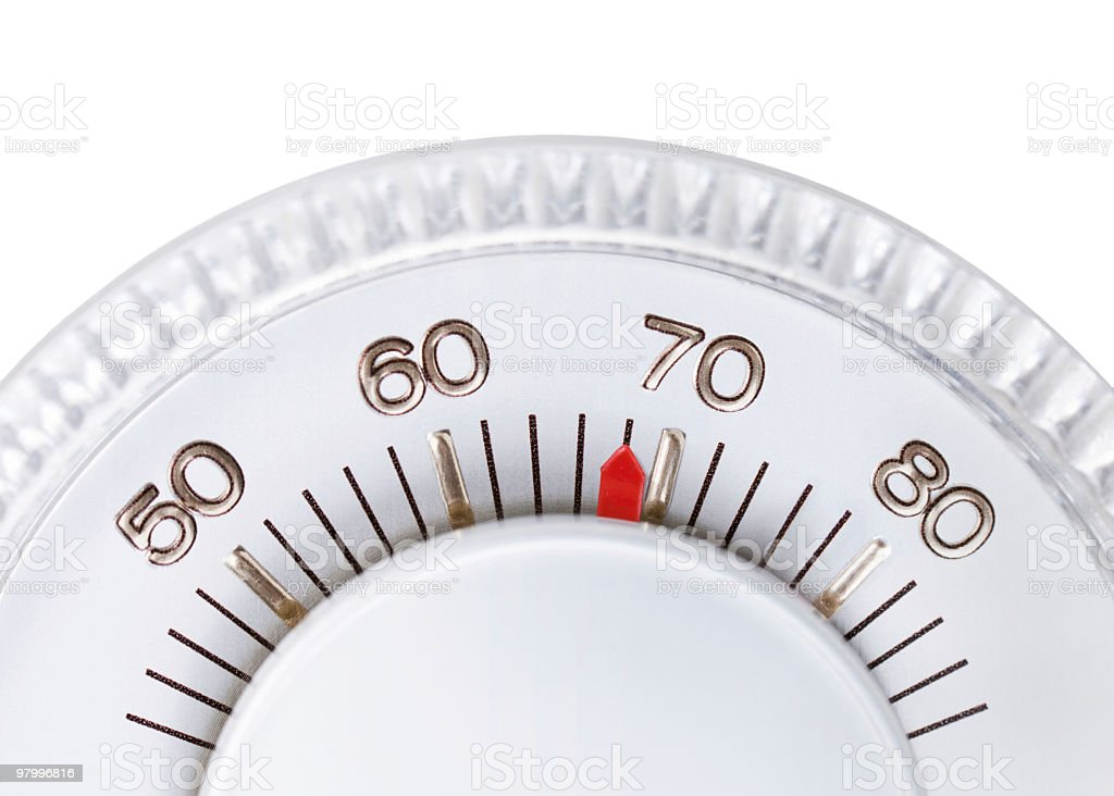 Thermostat set to 68 degrees royalty-free stock photo
