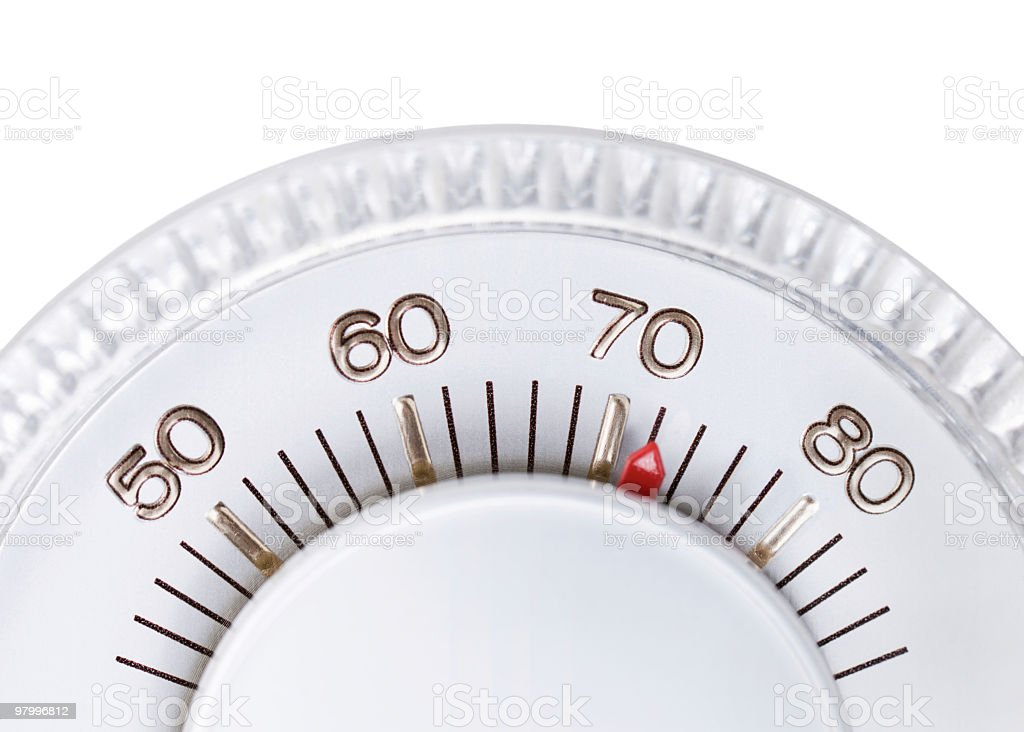 Thermostat set to 72 degrees royalty-free stock photo