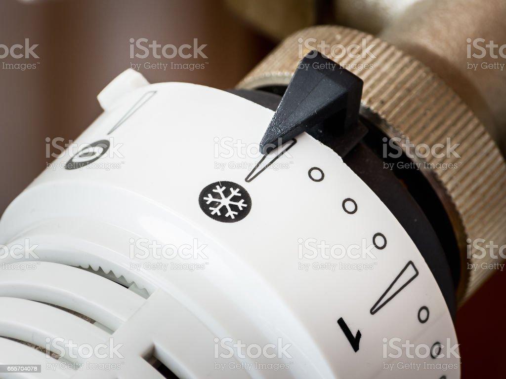 Thermostatic radiator valve. stock photo
