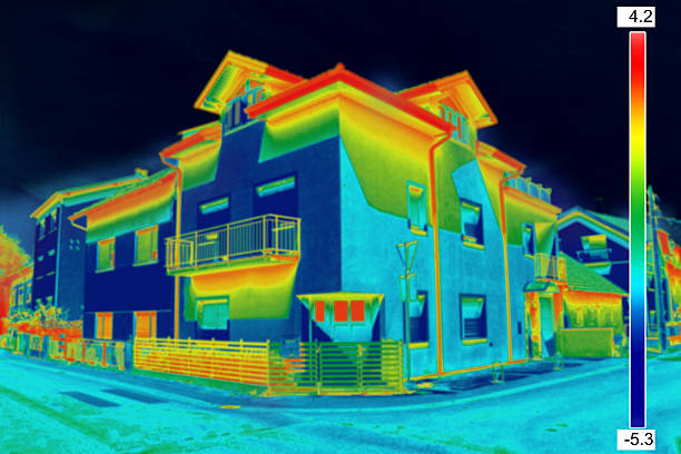 Thermovision image of two-story houses in a neighborhood stock photo