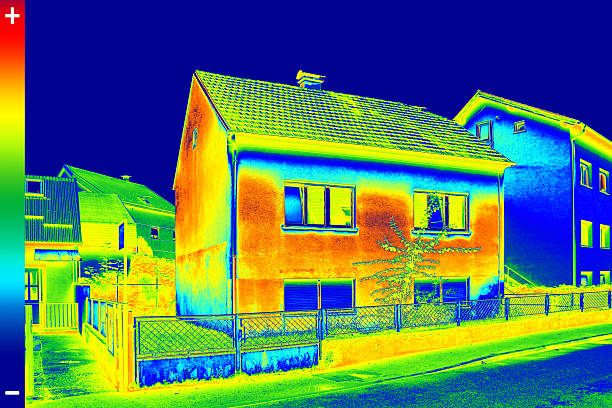 thermovision image on house - warm house stock photos and pictures