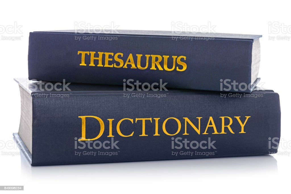 Thesaurus and Dictionary isolated on white stock photo