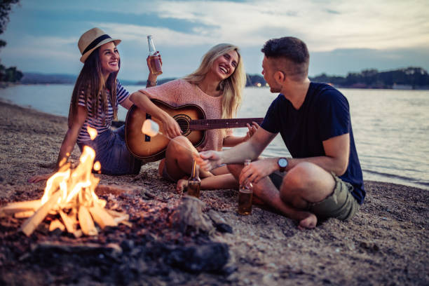 these are the best of times - falò spiaggia foto e immagini stock