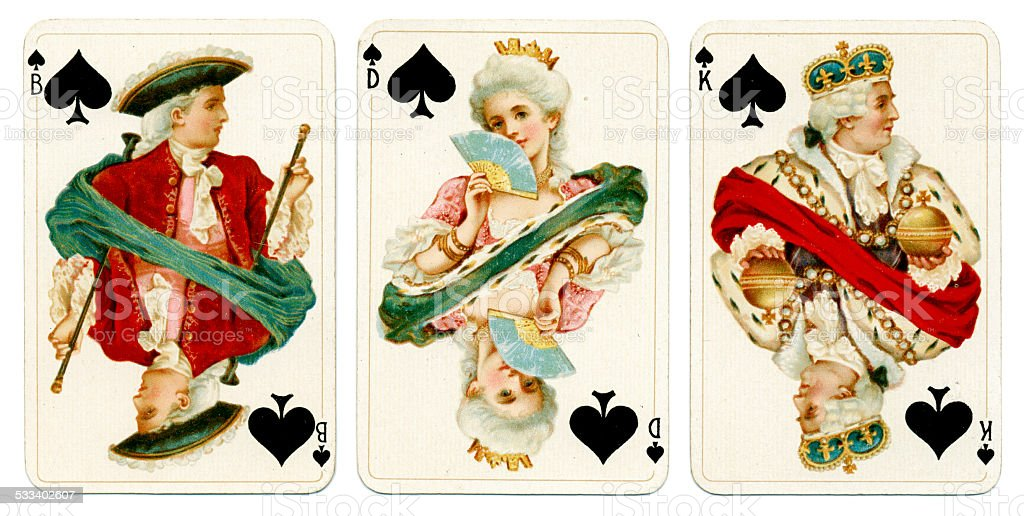 Court cards in Spades Dondorf Baronesse piquet 1900 stock photo