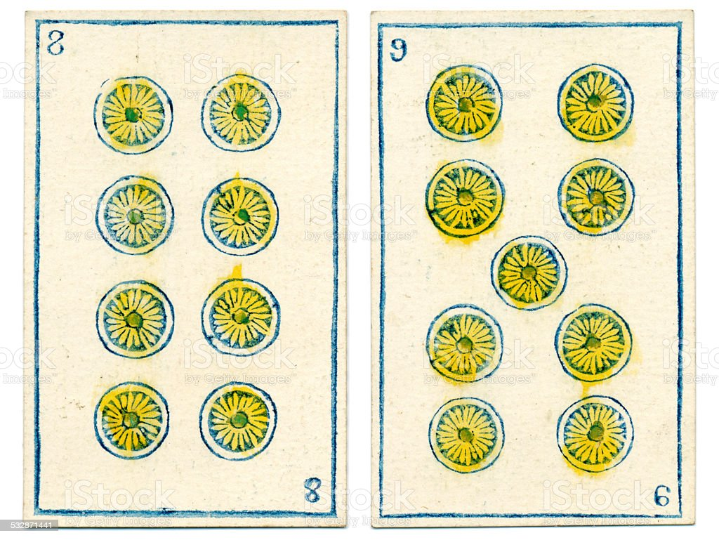 Mexico playing cards baraja 1846 eight nine coins Oros stock photo