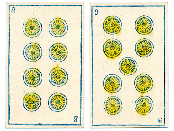 mexico playing cards baraja 1846 eight nine coins oros - whiteway money stock photos and pictures