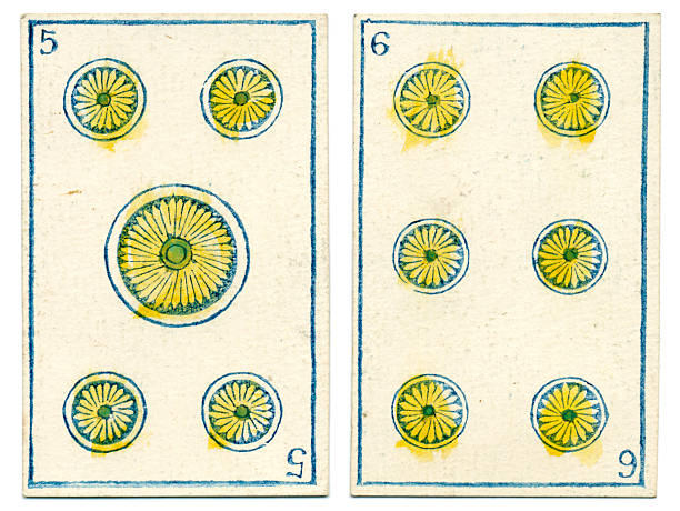 mexico playing cards baraja 1846 five six coins oros - whiteway money stock photos and pictures