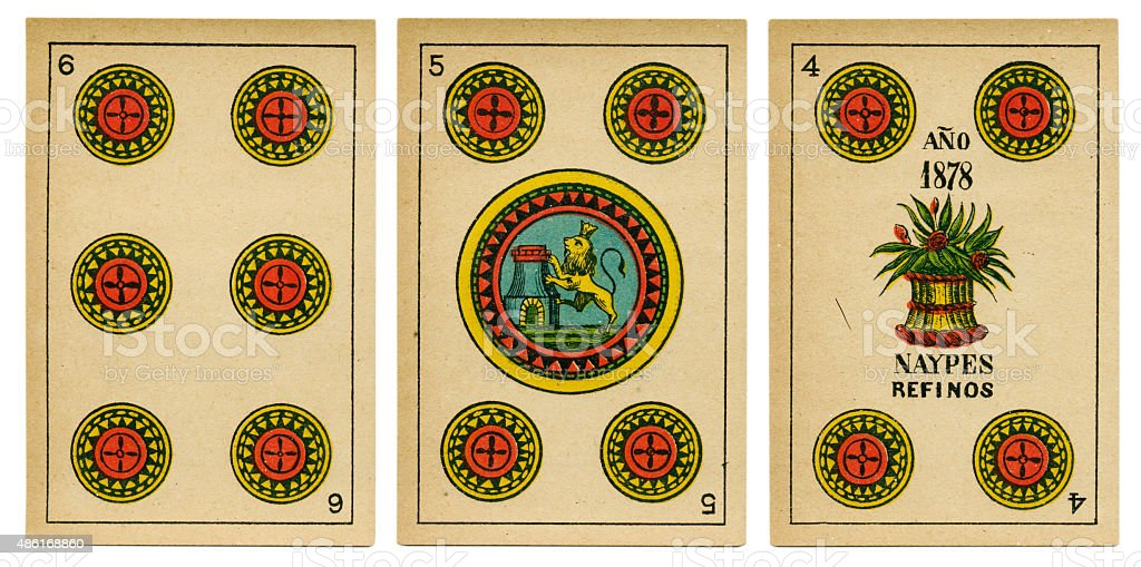 Four five six oros Spanish playing card baraja 19th century stock photo