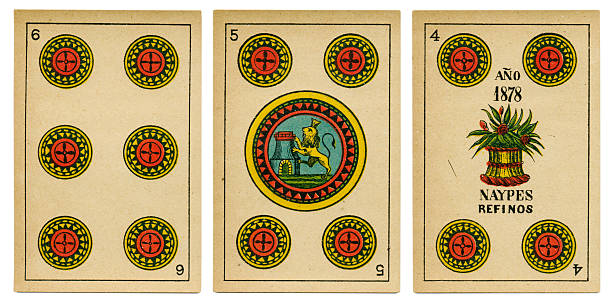 four five six oros spanish playing card baraja 19th century - whiteway money stock photos and pictures