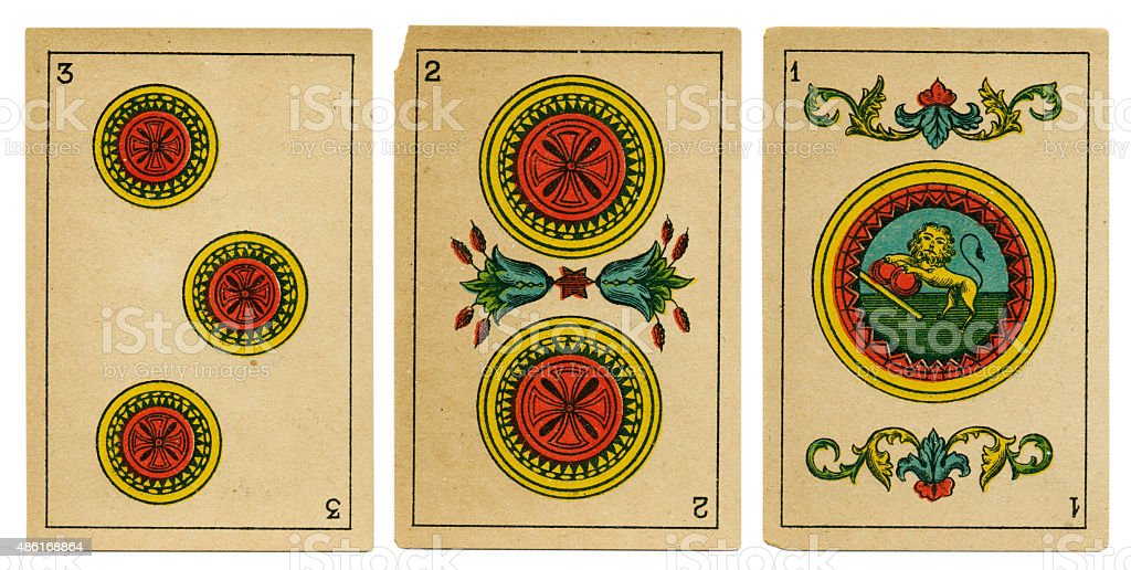 Oros one two three Spanish playing card baraja 19th century stock photo