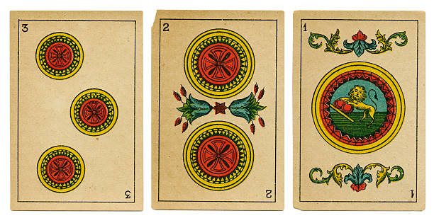 oros one two three spanish playing card baraja 19th century - whiteway money stock photos and pictures