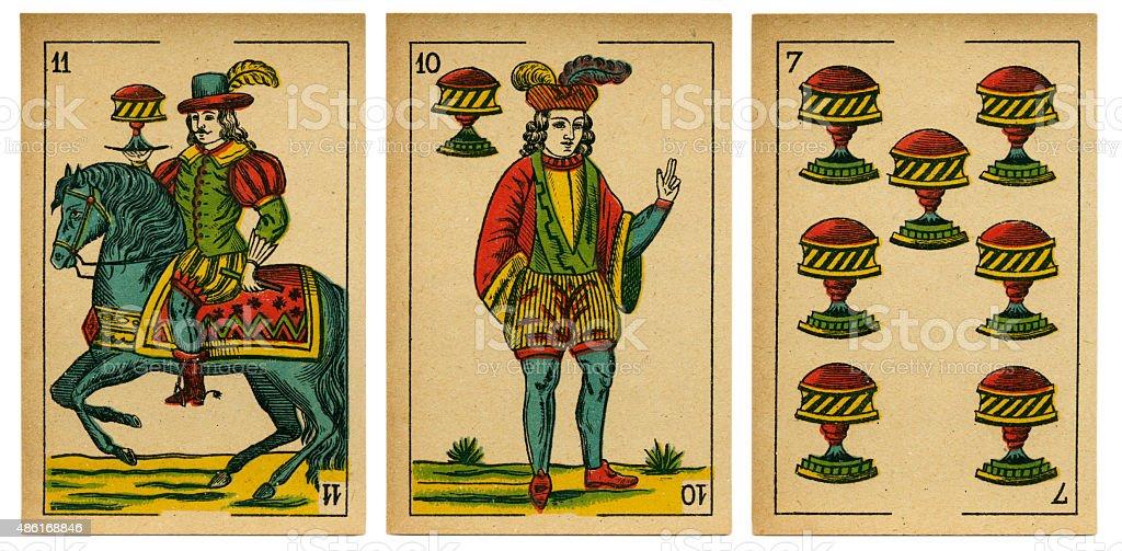 Copas seven jack cavalier baraja 19th century 1878 royalty-free stock photo