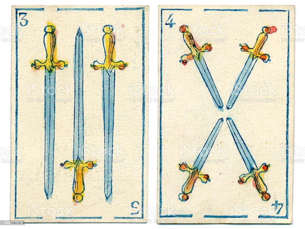 Mexico playing cards baraja 1846 three four espadas spades stock photo