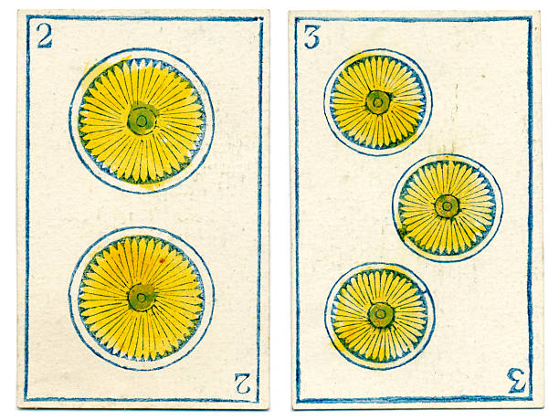 mexican playing cards baraja 1846 two three coins oros - whiteway money stock photos and pictures