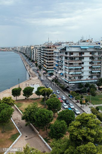 Aerial shot of the coastline of the sea in Thessaloniki