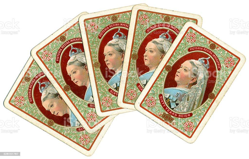Mão de Poker de rosto para baixo Victoria Jubileu de Diamante retrato 1897 - foto de acervo