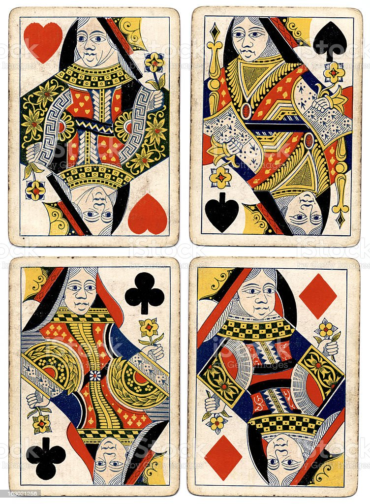 Antique playing cards four queens spades hearts diamonds clubs stock photo
