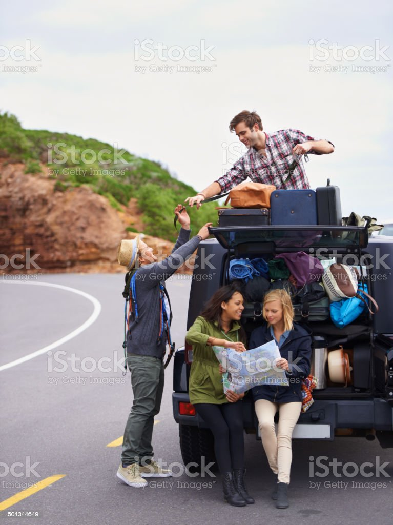 These girls packed way too much! stock photo