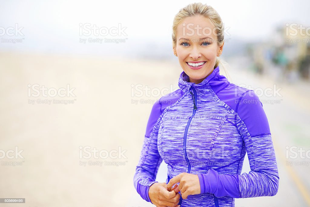 These morning runs kick start my day the right way! stock photo