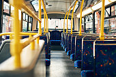 Cropped shot of empty seats on a public bus